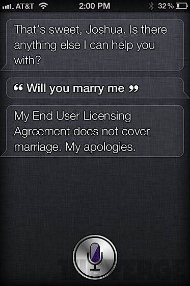 Siri answers a marriage proposal
