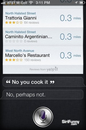 Cook me some food, Siri