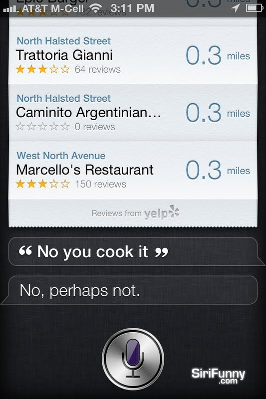 Cook me some food, Siri