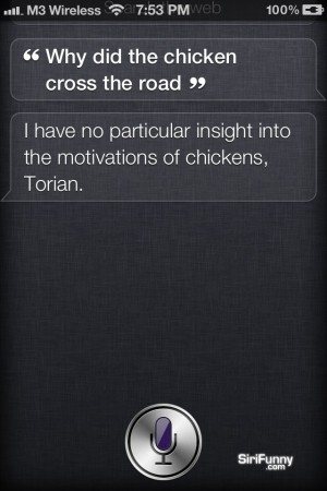 Why did the chicken cross the road, Siri?