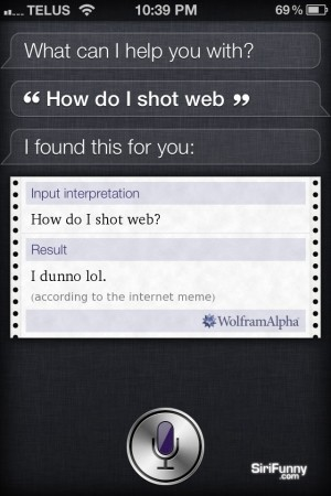 Siri, how do I shot web?