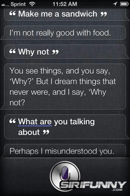 Make me a sandwich, Siri