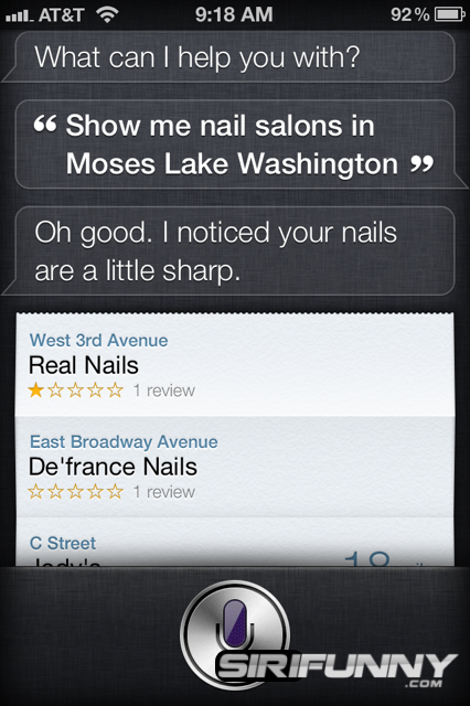 Siri, show me nail salons