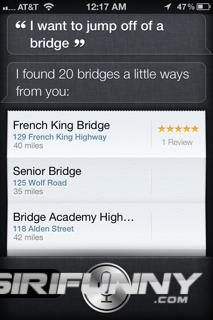 Siri helping you find a bridge