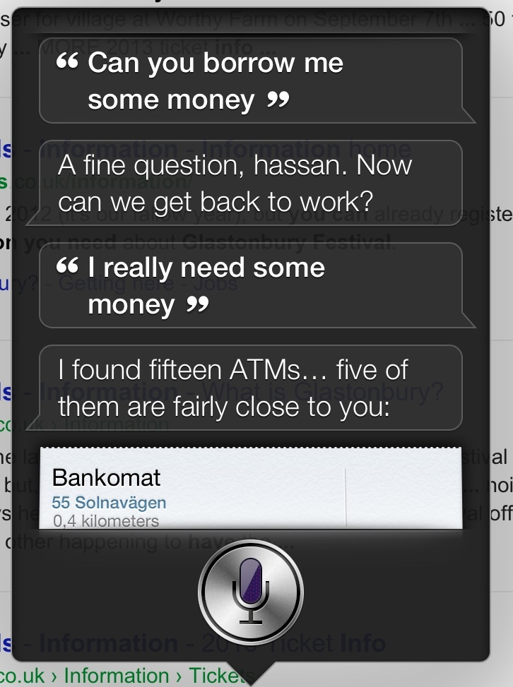 Asking Siri for money