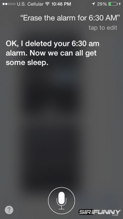 Siri, erase the alarm